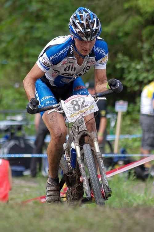 SP XC Champéry 2007 - Jan Škarnitzl vteřinu před tím, než přetrhl řetěz...
