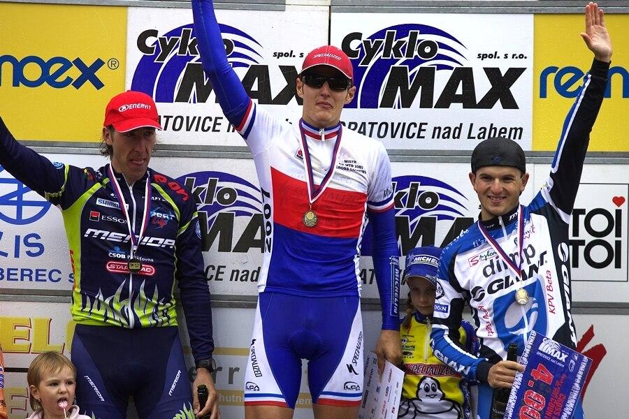 MČR XC 21.-22. '07 Zadov - muži elite: 1. Kulhavý, 2. Spěšný, 3. Škarnitzl