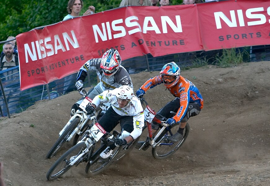 Nissan UCI MTB World Cup DH+4X #3, Mont St. Anne 24.6.'07 - Brian Lopes, Scot Beaumont a Kamil Tatarkovič