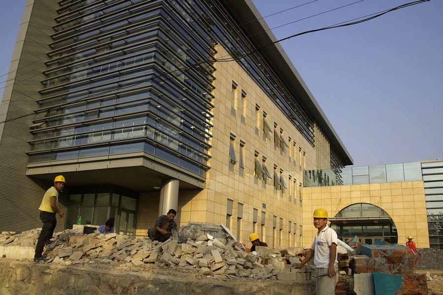 Peking - olympijský okruh MTB 365 dnů do startu - administrativní budova OH pro MTB