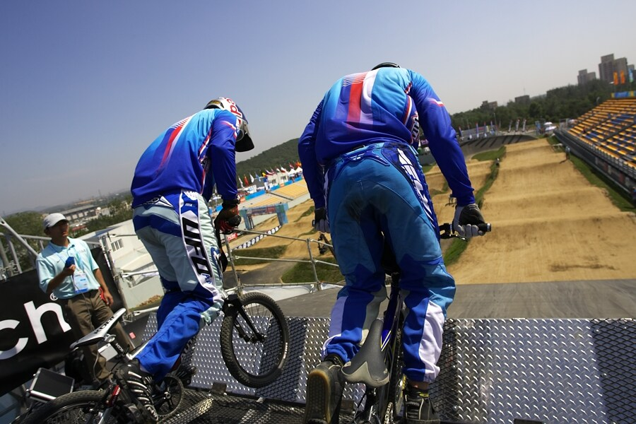 SP UCI BMX Supercross, 20.-21.8. 2007 Peking/Čína - tréninkový start ála Tcheque