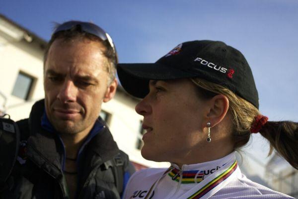 MS cyklokros 2008, Treviso - Itálie 27.1. - Hanka Kupfernagel a Mike Kluge