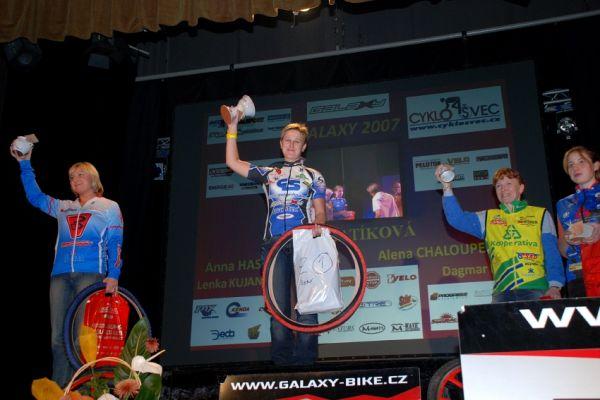 vyhlášení Galaxy série 2007 - ženy: 1. Jana Batíková, 2. Anna Haselbauerová, 3. Alena Chaloupecká
