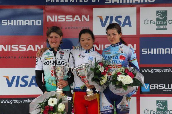 SP XC #1 2008 Houffalize - U23: 1. Chengyuan, 2. Schneitter, 3. Huříková