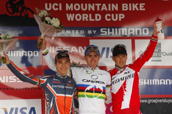 SP XC #1 2008 Houffalize - Elite: 1. Absalon /Orbea, FRA/, 2. Schurter /Swisspower, SUI/, 3. Sauser /Speciaized, SUI/