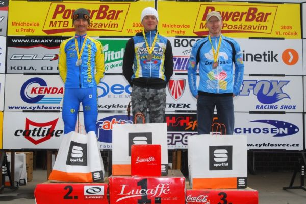 PowerBar MTB Posázavím 2008 - kategorie M 30-39: 1. Horák, 2. Hruška, 3. Bartoň