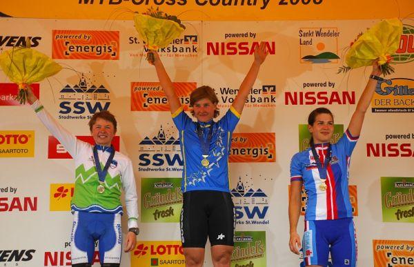 ME XC 2008, St. Wendel - ženy U23: 1. Schneitter, 2. Zakelj, 3. Huříková