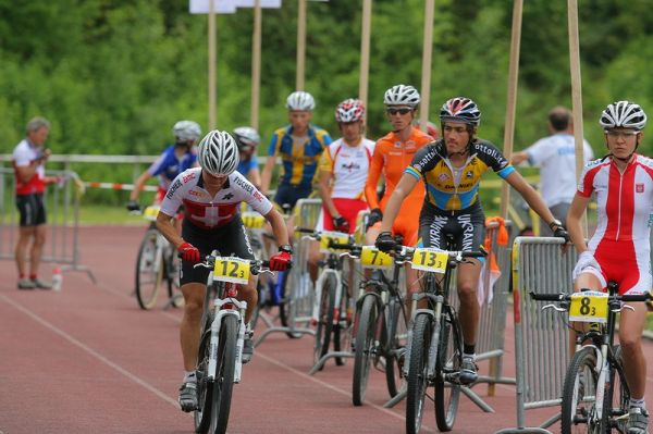 Mistrovství Evropy XC - štafety, 16.5.2008 St. Wendel/GER - Petra Henzi opouští depo jako první, v cíli ji bohužel vystavili stopku