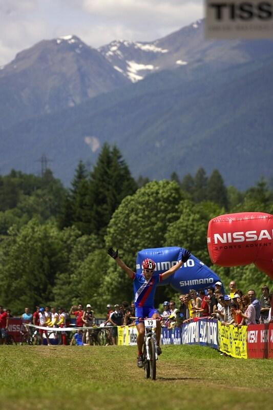 UCI MTB Wolrd Championship 2008 - Val di Sole/ITA - 19.6. - Peter Sagan v cíli