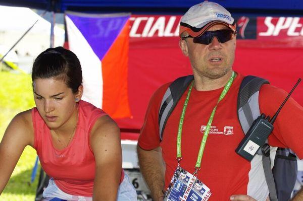 UCI MTB World Championship 2008 - Val di Sole/ITA - 18.6. - Tereza Huříková s trenérem Jiřím Lutovským