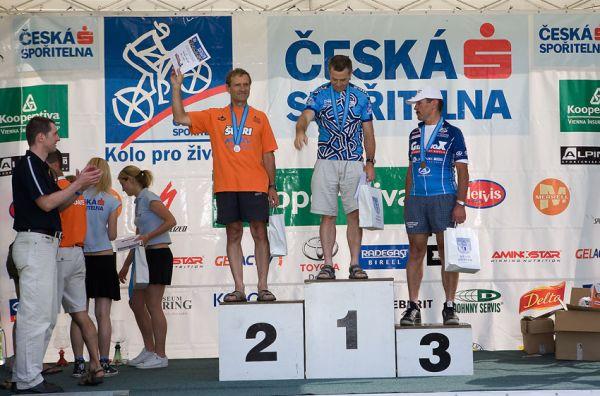 Kolo pro život - Příbramský permoník české spořitelny - 31.5. 2008 - muži 60+: 1. Hronza, 2. Barták, 3. Hájek