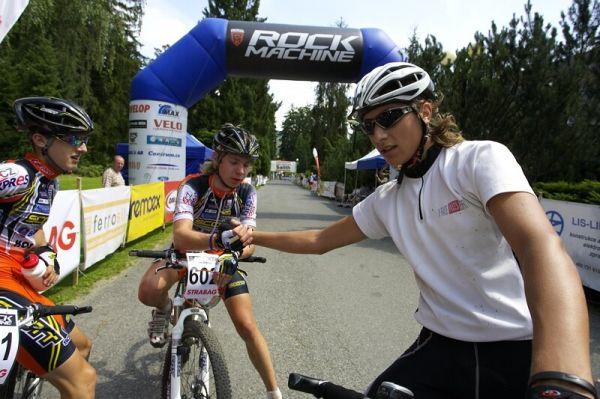 Mistrovství ČR XC - Velké Losiny 12.-13.7. 2008 - nejlepší kadeti: zleva Paprstka, Veselý a Žniva