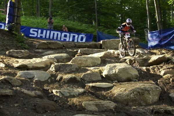 "Nissan UCI MTB World Cup 4X #5 - Bromont /KAN/, 2.8. 2008 - ""trialová"" pasáž"