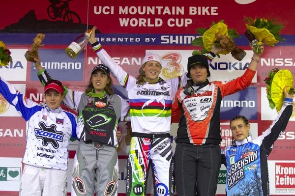 Nissan UCI MTB World Cup DH #7, Schladming 13.9. 2009 - 1. Atherton, 2. Pugin, Jonier, 4. Moseley, 5. Ragot