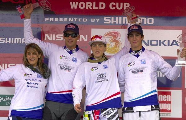 Nissan UCI MTB World Cup DH #7, Schladming 13.9. 2009 - juniorky Myriam Nicole, Greg Minaar, Rachel Atherton a junior Josh Bryceland