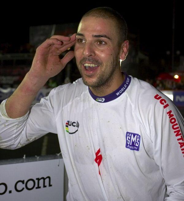 """Nissan UCI MTB World Cup 4X #7 - Schladming, 12.9. 2008  - """"Rafa"""" nevěří, že to Quido taky projel a sám se stal vítězem SP 2008"""