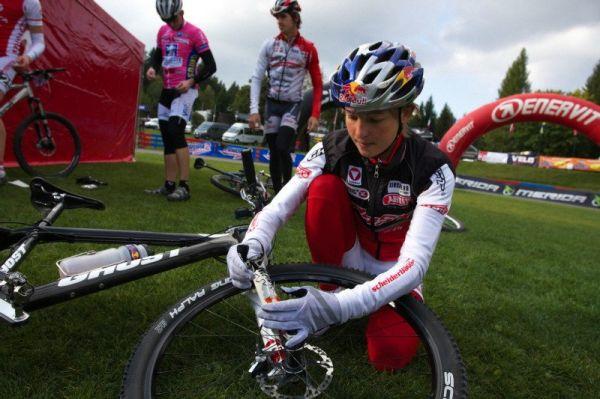 Merida Bike Vysočina, Nové Město na Moravě 28.9. 2008 - největší hvězda ženského startovního pole Rakušanka Lizi Osl