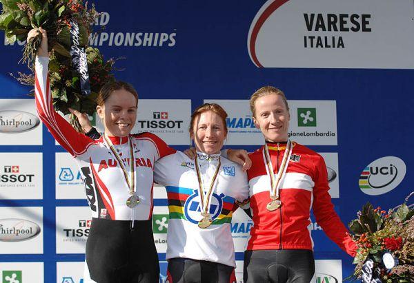 Mistrovství světa na silnici 2008, Varese/ITA - časovka ženy: 1. Neben, 2. Soeder, 3. Arndt, foto: Frank Bodenmüller/MTBSector.com
