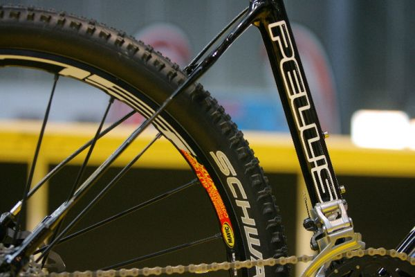 """Sport Life 2008, předání cen Bike Brno Prestige, 6. 11. Brno - detail zadní stavby """"Medium Tail"""" na kole Pell's Se7en"""