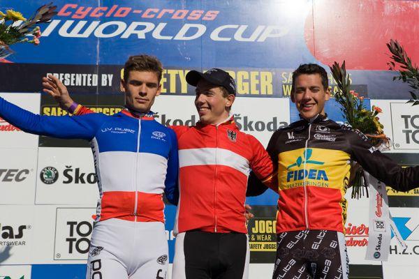 Světový pohár v cyklokrosu - Tábor 26.10.2008 - U23 1. Walsleben, 2. Duval, 3. Meeusen