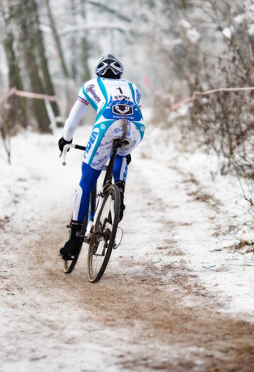 Mistrovství ČR cyklokros - Kolín 10.1. 2009 - osamocená jednička, foto: Miloš Lubas