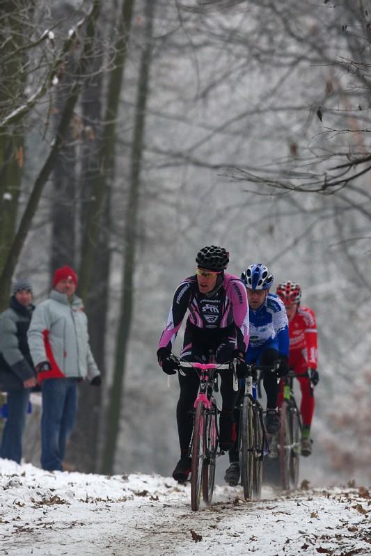 Mistrovství ČR cyklokros - Kolín 10.1. 2009 - Zlámalík, Kyzivát a Bambula