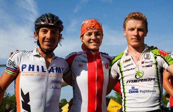 Maja Wloszczowska MTB Race - Jelenia G�ra 9.5. 2009 - hlavn� postavy z�vodu: Maja Wloszczowska, Miguel Martinez a Ji�� Friedl