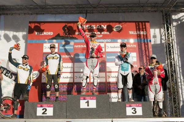 Nissan UCI World Cup 4X & DH Andora - Vallnord 2009: 1. Wichmann, 2 Madill, 3. Graves /foto: Gary Perkin/