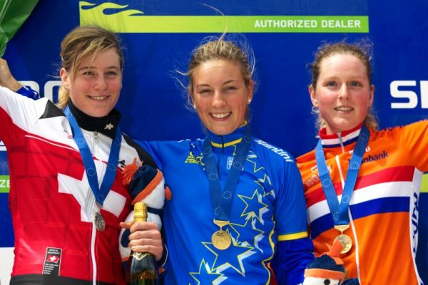 Mistrovství Evropy MTB XC 2009 - Zoetermeer /NED/ - juniorky & junioři: 1. Prevot, 2. Hediger, 3. Terstra