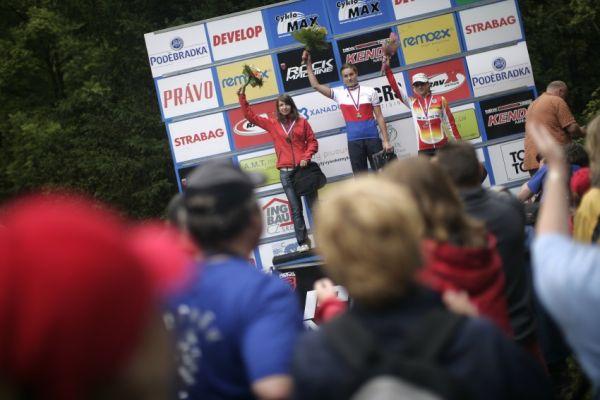Mistrovství ČR MTB XC 2009 - Karlovy Vary: žákyně - 1. Průdková, 2. Vališová, 3. Růžičková