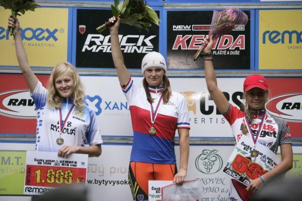 Mistrovství ČR MTB XC 2009 - Karlovy Vary: juniorky - 1. Sládková, 2. Solanská, 3. Jarošová
