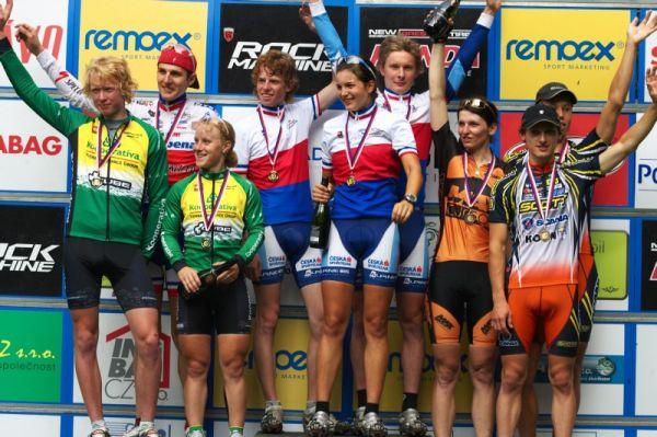 Mistrovství ČR MTB XC 2009 - Karlovy Vary - vítězné trojice štafet, Česká spořitelna jediná ve složení z vlastních členů