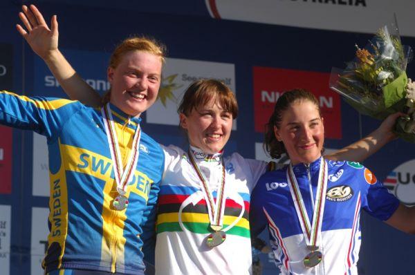 Mistrovství světa MTB XC 2009 - ženy U23: 1. Dawidowicz, 2. Engen, 3. Bresset