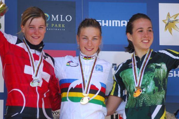 Mistrovství světa MTB 2009, Canberra - juniorky: 1. Prevot, 2. Hediger, 3. Neethling