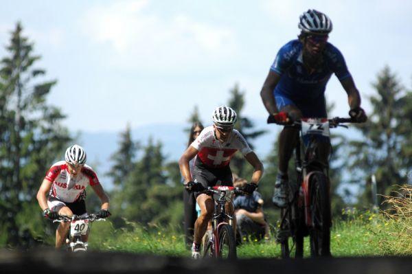 Mistrovství světa v MTB maratonu 2009 - Graz /AUT/: skupinka Cionni, Sauser, Soukup
