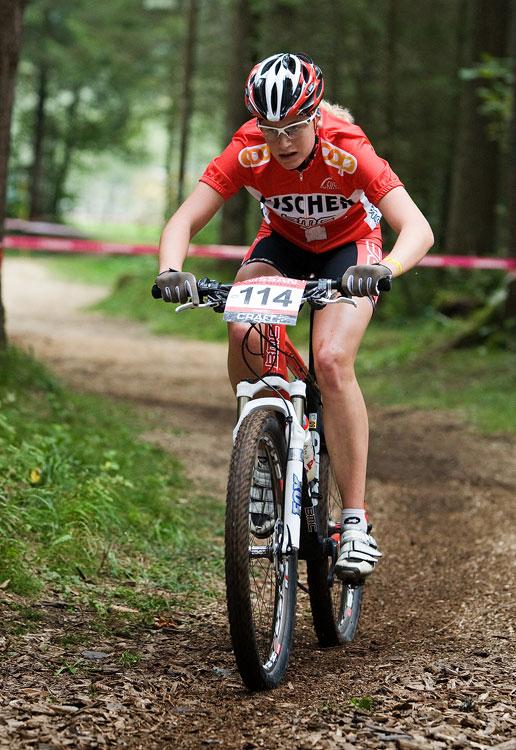 SP XCO Champéry 2009 juniorky - nejlepší juniorka Michelle Hediger na trati