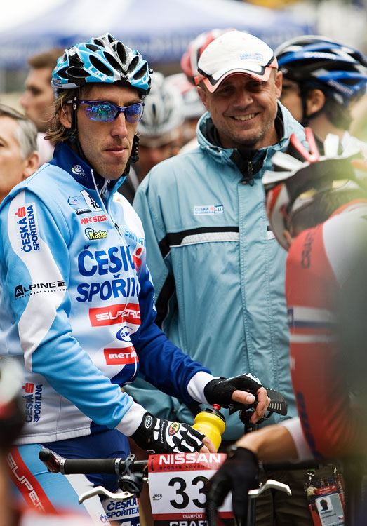 SP XCO Champéry 2009 - Milan Spěšný s trenérem Jiřím Lutovským