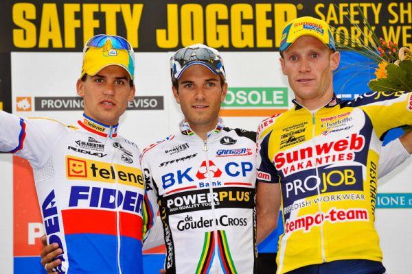 Světový pohár v cyklokrosu - 1. závod 3.10. 2009, Treviso/Itálie - 1. Albert, 2. Štybar, 3. Vantornout, foto: Armin Küstenbrück