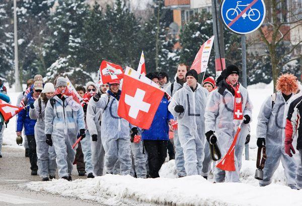 MS cyklokros Tábor 2010 - fanoušci, atmosféra...: jednotný ohoz švýcarských fanoušků