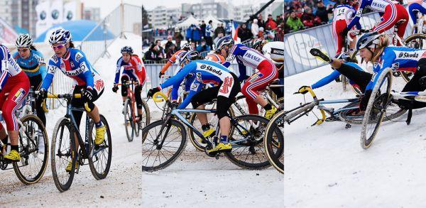 Mistrovství světa v cyklokrosu, Tábor 2010 - ženy: ...a první pád Kateřiny Nash, do kterého se zapletla i Jana Kyptová