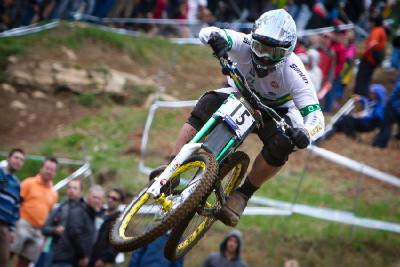 Chris Kovarik a zelená Marzocchi 888
