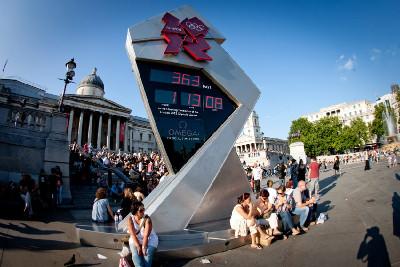 Odpočet času na Trafalgar Square v Londýně