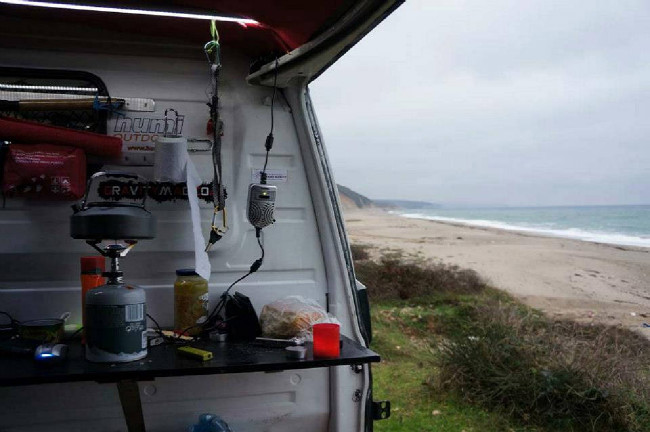 camping na pláži