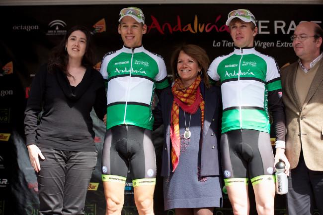 Ondřej Cink a Thomas Litscher v dresech lídrů Andalucía Bike Race 2013