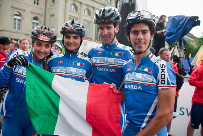Mistři Evropy 2013 - Eva Lechner, Gioele Bertolini, Gerhard Kerschbaumer a Marco Aurelio Fontana