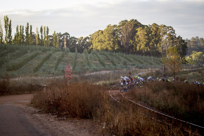 Špice závodu zdolává železiční trať