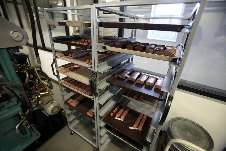 Na návštěvě v Goldfren - brzdové části obložení před spečením s kovovými částmi destiček