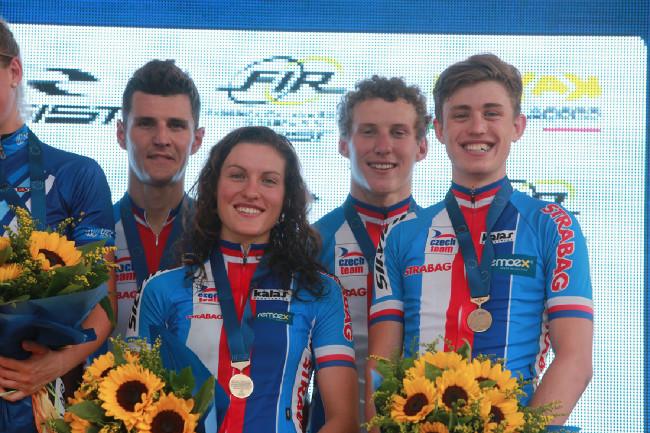 Mistrovství Evropy MTB 2015 - závod štafet - Jaroslav Kulhavý, Barbora Průdková, Matěj Průdek a Jan Vastl