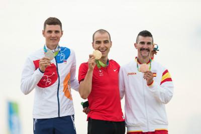 1. Nino Schurter, 2. Jaroslav Kulhavý, 3. Carlos Coloma Nicolac
