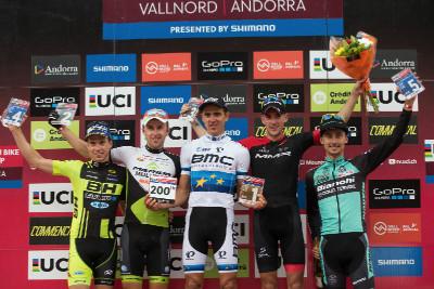 1. Julien Absalon, 2. Ondřej Cink, 3. Pablo Rodriguez, 4. Maxime Marotte, 5. Stephane Tempier